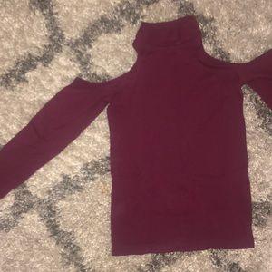 Burgundy cold shoulder top